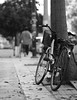 Life is a ride... (Michael Kalognomos) Tags: fall bicycle city leaves autumn man bokeh dof athens greece urban trees pavement pedestrian ef85mmf18usm canoneos5dmarkiii streetphotography depthoffield blackwhite bw streetlife monochrome parking life ride
