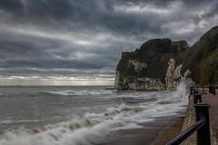 Rolling in (James Waghorn) Tags: autumn beach sigma1750f28exdcoshsm d7100 railings water stmargaretsatcliffe clouds nd32 path kent waves sea england splash