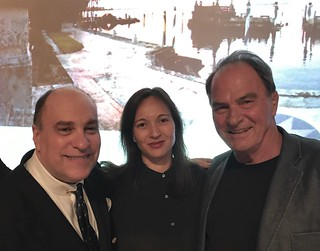 Juan Lluria with Gina Wouters and artist Emilio Cianfoni at the Vizcaya awards reception