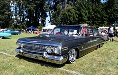 1963 Chevrolet Impala (stephen trinder) Tags: stephentrinder stephentrinderphotography woodend canterbury allamerican usa vintage old custom retro classics aotearoa american kiwi landscape godzone usacarshow sunshine friendly 1963 chev chevvy chevrolet stationwagon impala lowered dropped bagged
