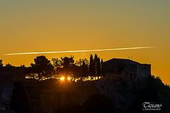 sunrise on the greek theater (Tiziano Photography) Tags: taormina sicily italy sunrise greektheater sun sky houses trees nikond610 d610 nikon landscape sicilia italia alba sole alberi cielo case teatrogreco scia silhouette paesaggio