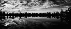 Zajarki lake (Ivan Vranić hvranic) Tags: blackwhite bw clouds croatia lake panorama photostitch reflection trees zajarki zaprešić