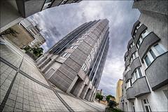 Halle Tower (p h o t o . w o r l d s) Tags: halletower hallesaale sachsenanhalt architektur architecture hdr 7artisans75mm28 fisheye fischauge fujixt10 photoworlds