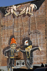 Rogue Puppets (Glasgow) (RagbagPhotography) Tags: glasgow eastend merchantcity scotland wall art comic caricatures painting puppets hiphop marionette strings dancers dance ghetto blaster beat box