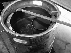 Turning Water to Beer. A True Miracle (Lake Effect) Tags: beer homebrew pot boil brew brewing spoon blackwhite monochrome bw utata:project=true2017 utata:entry=3