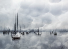 beneath the sky . . . (YvonneRaulston) Tags: surreal australia sydney rushcutters bay nsw boat boats sailboats clouds water blue blur slow shutter icm atmospheric art abstract creativeartphotography calm cold dream emotive texture peaceful fineartgrunge soft photoshopartistry harbour moody moments mist morning sony sailing