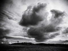 Storm Clouds Gathering (Feldore) Tags: orkney ring brodgar storm clouds landscape moody figure solitary scottish mono stone circle ancient feldore mchugh em1 olympus 1240mm islands sky silhouette haunted haunting