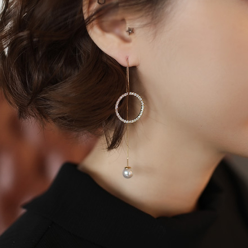 Lucias South Korea imported pearl diamond round irregular diamond earrings earrings ear line female fashion earrings