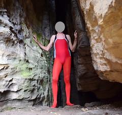 Pantyhose and swimsuit (wetmuddy) Tags: tight strumpfhose fun lycra spandex outdoor pantyhose leotard unitard swimsuit mountain
