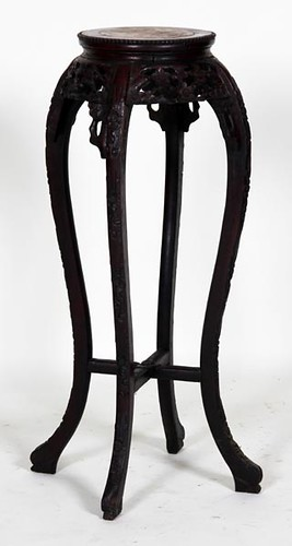 Teak Carved Marble Top Oriental Fern Stand ($201.60)