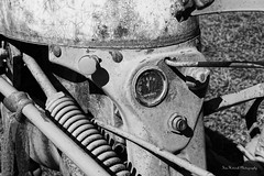 Better Days (thetrick113) Tags: international internationaltractor cub internationalcub ulstercountynewyork miltonnewyork prospecthillorchard blackandwhite hudsonvalley hudsonrivervalley farmequipment farm gauge spring button crusty agriculture tractor machine sonyslta65v