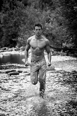 Anthony Lorca by Philippe Brunel (anthonylorca) Tags: anthonylorca philippebrunel philippebrunelphotography malemodel maleactor running river photoshoot photoshooting sexy muscle fit sixpack 6pack abs jeans