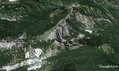 Google Earth 3D (vista E) (Emanuele Lotti) Tags: traccia quotata gps rifugio donegani foce giovetto sentiero attrezzato piotti ferrata lizzari cresta nattapiana zaccagna pizzo aquila