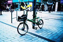 mju - unusual bike (johnnytakespictures) Tags: olympus mju mju1 automatic lomo lomography xprochrome100 crossprocess crossprocessed film analogue expiredfilm expired bike bicycle transport vehicle nice unusual strange weird vintage retro birmingham westmidlands street