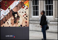 Split (Photoburglar) Tags: london guildhall poppy britishlegion diptych placard people candid unreality centrefold looking fujifilm xe2 street poster