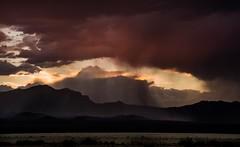 sunset interlude... (Alvin Harp) Tags: california californianevadastateline i15 cloudsstormssunsetssunrises stormysunset desertrainstorm desertmountains mojavedesert sonyilce7rm2 september 2017 fe2470mmf28gm alvinharp