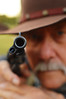 Hand's up! (radargeek) Tags: reenactment group fortsmith ar arkansas indianterritorypistoliers costumes wildwest pistol gun mustache cowboyhat barrel