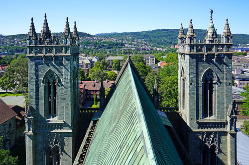 On the top of Nidaros Cathedral, Trondheim, Norway