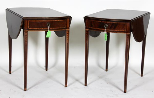 Pembroke-Style Inlaid Drop-Leaf End Tables ($246.40)