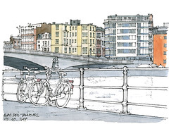 Liège, quai des Tanneurs (gerard michel) Tags: belgium liège quai sketch croquis aquarelle watercolour bike