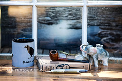 The View Out Our Cottage Window (jah32) Tags: poe edgarallanpoe books book pipe smoking raven windows window inthewindow glasses lakeerie lake lakes stilllife tabletop table onthetable literature elephant cigarettelighter