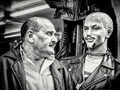 A one-sided Bromance (Andy J Newman) Tags: london monochrome omd street blackandwhite bricklane candid course dummy man moustache olympus portrait silverefex streetsnappers workshop england unitedkingdom gb