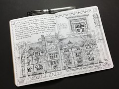 Entry No 4 - The Sketchbook Project 2018 - Merrill Hall (schunky_monkey) Tags: college campus handdrawn freehand illustration sketchbook drawing draw building architecture merrillhall universityofwisconsinmilwaukee uwm journal notebook sketch thesketchbookproject