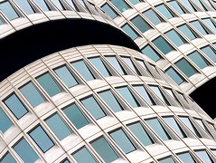Windows and Curves (Karen_Chappell) Tags: bmw architecture windows glass abstract travel munich germany city urban curve blue grey black building europe glasses concrete geometry geometric