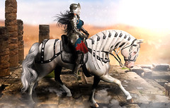 Honor calls (meriluu17) Tags: jinx noblecreations knight honor horse pet war wind fight fighting walk mane history historic fantasy people animal