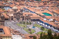 A look at the plaza de armas in Cusco from a higher viewpoint.