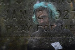 Double Exposure / Pray For Me (karleemorganroyek) Tags: nikon d7100 50mm f18 1100 double exposure tombstone pray blue hair boy portrait