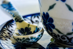 one espresso coming right at you / a macro souvenir (Özgür Gürgey) Tags: 105mm 2017 ceramic d7100 dof macromondays nikon sigma blue cup espresso flowers macro reflection saucer spoon istanbul