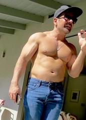 IMG_9600 (danimaniacs) Tags: shirtless hot sexy guy man male pecs denim jeans mansolo beard scruff hat cap