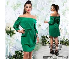Летнее женское платье с открытыми плечами ровного кро под пояс зеленое (arrkareeta) Tags: