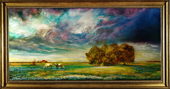 final_framed (THAOLEARTSTUDIO) Tags: groundedmetalpainting grounded metal painting thaoleartstudio thaole landscape texasblue texas traditionalpainting