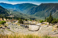 Temple of Apollo (leonhiggins) Tags: apollo dayphotography delphi greece mountparnassus mountains temple unesco amphitheater ancient columns landscape oracle pillars sky summer theater valley
