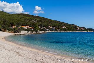 Sand and shingle beach at Prizba