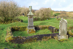 St Columba's Isle Skeabost on Skye Scotland (Dave Russell (1.3 million views thanks)) Tags: st saint columba columbas isle island skeabost skye west western scotland outdoor grave gravestone stone burial place holy religion old landscape ruins grass field tree chapel church inner hebrides ancient