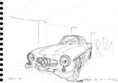 Mercedes-Benz 300SL - 1966 (Croctoo) Tags: croctoo croctoofr croquis crayon aquarelle watercolor auto autoancienne musée monaco classics