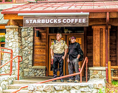 Guarding the Fort (joe Lach) Tags: assetprotection valuableresource starbuckscoffee sheriff police joelach guardingthefort