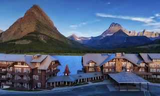Many Glacier Hotel on Swift Current Lake - Glacier National Park