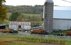 Lending a Hand. Volant, PA (bobchesarek) Tags: amish barn horses buggy silo trees flowers fence padutch volant pennsylvania carpenter