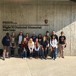 Honors students in the Battle for Public Memory class pose in front of the Flight 93 Memorial Visitor Center.