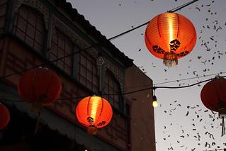 lanterns and confetti at twilight