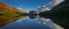 Balmy Buttermere (snowyturner) Tags: buttermere cumbria borrowdale reflections summer pikes fells clouds evening panorama landscape lake light