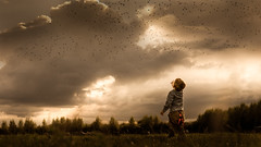 Sign of the times (iwona_podlasinska) Tags: sky birds sign times summer autumn fall child powerful strong up 50mm sony camera landscape dramatic