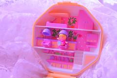 Polly pocket Hair salon~! (Vuffy VonHoof) Tags: polly pocket doll dols playset locket compact 80s 90s bluebird hair salon cute pastel kawaii retro vintage pink yellow