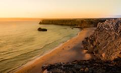 Calm sunset (amcatena) Tags: sea sunset beach sun rock sand portugal cliff sagres algarve algarvepeople
