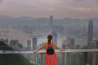 From Victoria peak - waiting for city lights