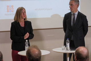 Federica Mogherini at the inauguration of the Hybrid Center of Excellence in Helsinki, October 2017
